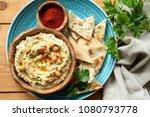 chickpea hummus  pita chips ... | Shutterstock . vector #1080793778