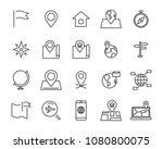 world map line icon set ... | Shutterstock .eps vector #1080800075