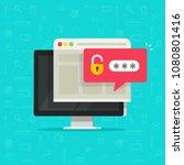 desktop computer with unlocked... | Shutterstock .eps vector #1080801416