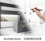 hand drawing creative kitchen... | Shutterstock . vector #1080802658
