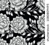 seamless black and white rose... | Shutterstock .eps vector #1080809495