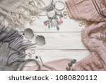 boho style dusty pink and grey... | Shutterstock . vector #1080820112