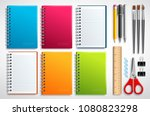 notebook vector set with school ... | Shutterstock .eps vector #1080823298