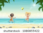 two kids are playing in the... | Shutterstock .eps vector #1080855422