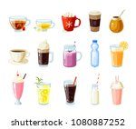 set of cartoon foodicons of non ... | Shutterstock . vector #1080887252