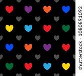 rainbow hearts seamless on... | Shutterstock .eps vector #1080891092