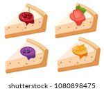 a set of fruit cheesecakes with ... | Shutterstock .eps vector #1080898475
