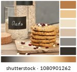 home baked oatmeal cookies with ... | Shutterstock . vector #1080901262