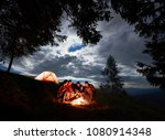night camping in the mountains. ... | Shutterstock . vector #1080914348