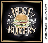 best burgers chalkboard menu... | Shutterstock .eps vector #1080925895