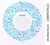 airport concept in circle with... | Shutterstock .eps vector #1080929612