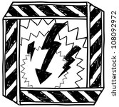 Doodle style electrical hazard or warning sketch in vector format. - stock vector