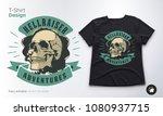 vintage skull vector emblem.... | Shutterstock .eps vector #1080937715