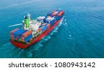 aerial top view container ship  ... | Shutterstock . vector #1080943142
