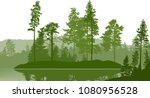 illustration with high pines... | Shutterstock .eps vector #1080956528