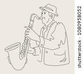 cartoon jazz character   Shutterstock .eps vector #1080958052