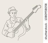 cartoon jazz character   Shutterstock .eps vector #1080958058