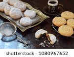 sesame shortbread with date... | Shutterstock . vector #1080967652