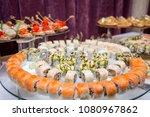 japanese cuisine  buffet... | Shutterstock . vector #1080967862