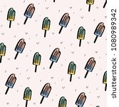 cute pattern with hand drawn... | Shutterstock .eps vector #1080989342