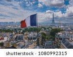 French flag and eiffel tower in ...