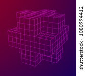 wireframe necker cube. cube of... | Shutterstock .eps vector #1080994412