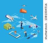 drone logistics network flat 3d ... | Shutterstock .eps vector #1081004516