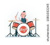 cartoon rock drummer playing on ...   Shutterstock .eps vector #1081032245