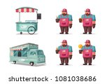 street food and beverages funny ... | Shutterstock .eps vector #1081038686
