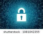 white lock icon inside cyan... | Shutterstock . vector #1081042355