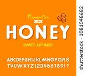 'honey' vintage sans serif...   Shutterstock .eps vector #1081048682