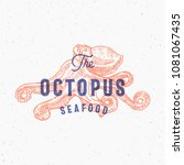 the octopus seafood. retro... | Shutterstock .eps vector #1081067435