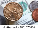 close up of us dollar bills and ... | Shutterstock . vector #1081073006
