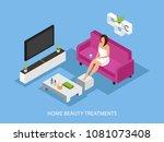 isometric home skincare...   Shutterstock .eps vector #1081073408