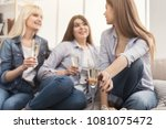 three young women drinking... | Shutterstock . vector #1081075472