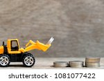toy bulldozer hold group of... | Shutterstock . vector #1081077422
