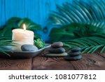 pyramids of gray zen stones... | Shutterstock . vector #1081077812