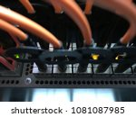 network switch and fiber optic... | Shutterstock . vector #1081087985