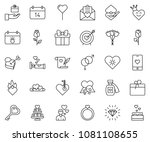thin line icon set   rose... | Shutterstock .eps vector #1081108655