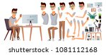 office worker. emotions ... | Shutterstock . vector #1081112168