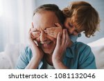 small grandson closes with... | Shutterstock . vector #1081132046