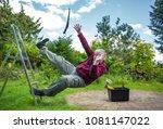 a man has an accident  falls... | Shutterstock . vector #1081147022