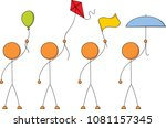 a set of four stick figures... | Shutterstock .eps vector #1081157345