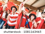 football supporter fans friends ... | Shutterstock . vector #1081163465