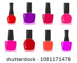 colorful set of nail polish... | Shutterstock .eps vector #1081171478