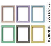 set of colorful wooden frames.... | Shutterstock . vector #1081171496