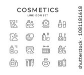 set line icons of cosmetics | Shutterstock .eps vector #1081181618