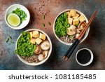 miso and soba noodles soup with ...