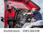semi truck under maintenance....   Shutterstock . vector #1081186148