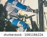 forklift caucasian driver.... | Shutterstock . vector #1081186226